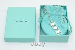 Tiffany & Co. Sterling Silver Triple Heart Bar Pendant Necklace 16