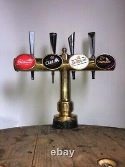 Used- Brass T-BAR pub beer pump 4 tap Font, home bar, man cave