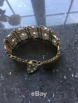 Vintage 9ct Gold Gate 10 Bar Link Heart Padlock Bracelet with safety chain 23g