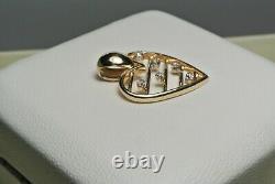 Vintage Unique 10K Gold Diamond GTR J. M. Fox Co. Horizontal Bars Heart Pendant