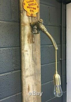 Vintage petrol gas pump brass metal hanging wall light garage shop bar display