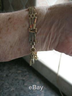 Vtg 9ct 375 Gold 3 Bar Gate Bracelet 11 Gram Heart Lock Safety Chain