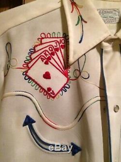 Western Shirt, Vintage, H Bar C, Sequined, Heart Royal Flush, Large