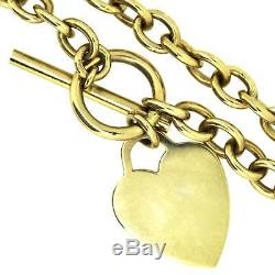 Womens Hallmarked 9ct Yellow Gold T-Bar Heart 16 Belcher Chain 47.12g
